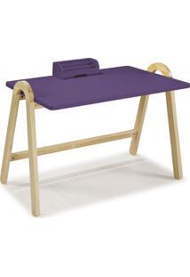 Mesa Escrivaninha Com Porta Objetos Ringo 1031 Natural/Roxo - Maxima