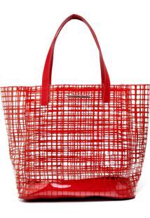 Bolsa Sacola Colcci Grande Transparência Vermelha