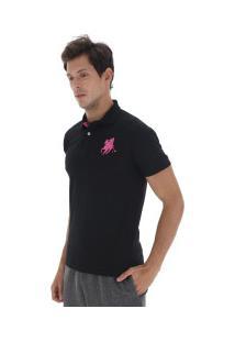 Camisa Polo Polo Us Us1 - Masculina - Preto/Rosa