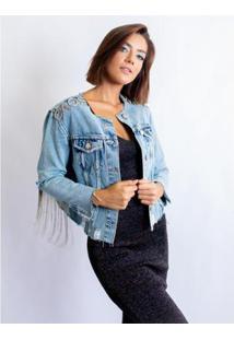 Jaqueta Jeans Caos Gola C/ Rasgos Bordado Feminina - Feminino-Azul