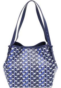 Bolsa Geométrica Com Alças - Azul Marinho & Branca -Lacoste