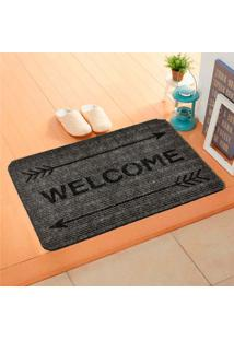 Capacho Carpet Welcome Com Flechas Cinza