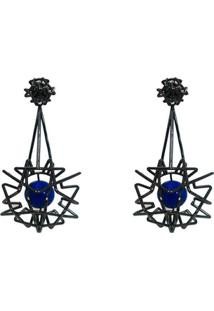 Brinco Raquel Schiavon Ultimate Jade Azul - Feminino-Azul Escuro
