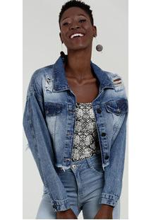 Jaqueta Feminina Jeans Destroyed Botões Marisa