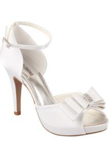 Sandália Com Laço E Strass Spaço Criativo Exclusiva - Feminino-Branco