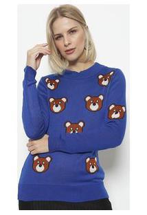 Ponto Aguiar Blusa Em Tricot Ursos Azul Marinho & Marrom