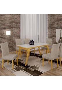 Mesa De Jantar Lotus 1,80M Com Vidro Offwhite + 6 Cadeiras Jasmim Tecido 07 - 100% Madeira - Damasco Natural
