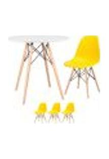 Conjunto De Mesa Eames 80 Cm Branco + 3 Cadeiras Eames Eiffel Dsw Amarelo