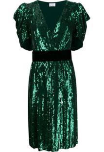 P.A.R.O.S.H. Vestido Midi Com Aplicação De Paetês - Verde