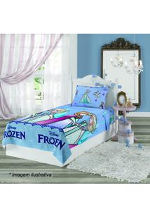 Jogo De Cama Frozen® Solteiro- Azul Claro Lilás- 3Lepper