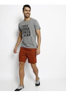 "Camiseta ""Coke & (C)Alma""- Cinza Claro & Preta- Cocacoca-Cola"