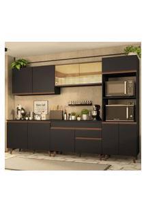 Cozinha Completa Madesa Reims 310001 Com Armário E Balcão Preto/Rustic Rustic