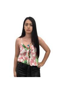 Blusa Hdy Com Laço Estampada De Alcinha Rosa