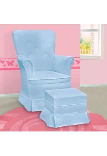 Poltrona Amamentação Sofia Com Balanço E Puff Azul - Confortável