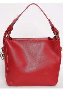 Bolsa Texturizada Com Bag Charm- Vinho- 30X33X13Cm
