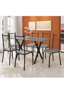Conjunto De Mesa Miame 150 Cm Com 6 Cadeiras Lisboa Preto E Vegetale