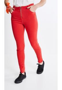 Calça Skinny Em Sarja Vermelha