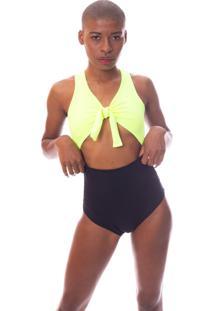Body Bicolor Com Amarração E Recorte Na Barriga Preto E Amarelo Neon