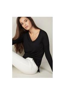 Blusa Oversize Em Modal E Cashmere Ultralight - Preto M