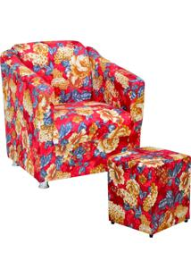 Poltrona Decorativa Lyam Decor Com Puff Laura Estampado Vermelho
