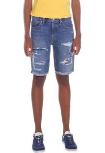 Bermuda Jeans Levis Masculina 511 Slim Cut Off Azul Médio Azul