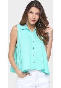Camisa Lança Perfume Correntes Cava - Feminino-Verde Água