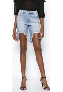 Bermuda Jeans Destroyed- Azul Clarovide Bula