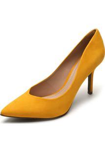 Scarpin Couro Dumond Liso Amarelo