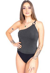Body Up Side Wear Lurex Um Ombro Cinza - Cinza - Feminino - Viscose - Dafiti