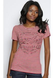 Camiseta Listrada - Vermelha & Off White - Coca-Colacoca-Cola