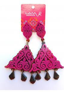 Brinco De AcrãLico Triã¢Ngulo Arabesco E Pedras - Rosa Pink - Multicolorido/Pink/Rosa - Feminino - Dafiti