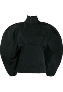 Givenchy Taffeta Oversized Sleeve Blouse - Preto
