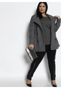 Blusa Com Bordados - Cinza Escuro & Prateadarovitex