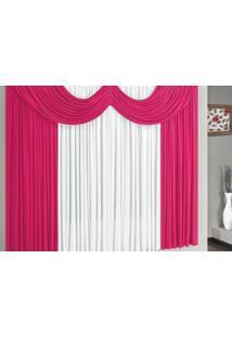 Cortina Riviera 3,00M X 2,80M Para Varão Simples Borda Bordados Enxovais Pink/Branco