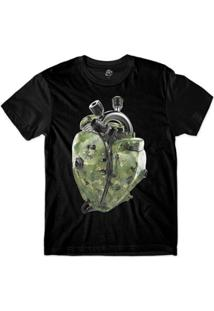 Camiseta Bsc Coração De Máquina Motor Camuflado Sublimada - Masculino-Preto