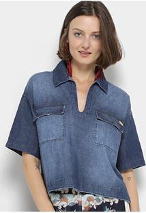 Camisa Jeans Coca-Cola Cropped Estonada Feminina - Feminino-Azul