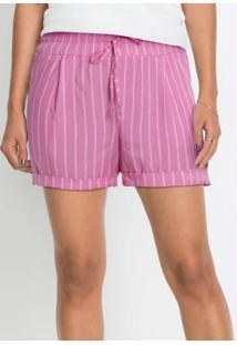 Shorts Com A Barra Dobrada Listrado Rosa