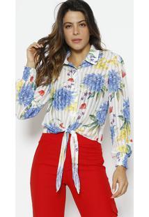 Camisa Floral Com Amarraã§Ã£O - Branca & Azul - Alfredalfreda