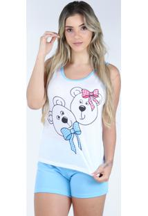 Pijama Curto Regata Bravaa Modas Baby Doll Short Blusinha 127 Azul - Kanui