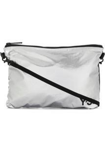 Y-3 Logo-Print Shoulder Bag - Prateado