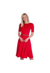 Vestido Vermelho Ficalinda Meia Manga Decote Canoa
