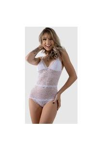 Body Rendado Feminino Com Forro Sexy Sensual Decote Verão Rlc Modas Branco