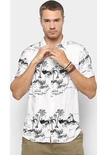 Camisa Foxton Manga Curta Estampa Coqueiro Masculina - Masculino-Bege