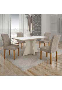 Conjunto De Mesa De Jantar Creta Iii Com 4 Cadeiras Olímpia Suede Branco E Cinza
