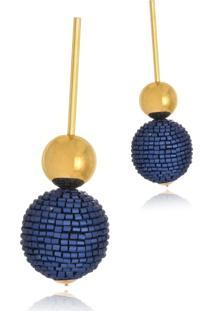 Brinco Le Diamond Pendulo Com Esferas Azul - Azul - Feminino - Dafiti