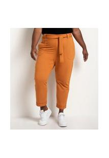 Calça De Malha Piquet Curve E Plus Size Amarelo
