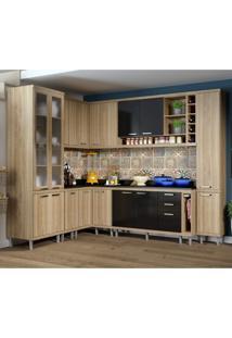 Cozinha Completa Com Balcão Com Tampo 11 Peças 16 Portas Sicília Multimóveis Argila/Preto
