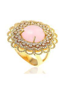 Anel Cabochão Soloyou Luxo Semijoia Em Ouro 18K Com Micro Zircônia Branca E Pedra Natural Jade Rosa