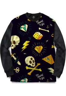 Blusa Bsc Too Young To Die Full Print - Masculino