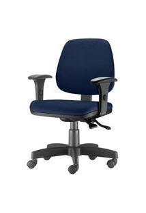 Cadeira Job Com Bracos Assento Crepe Azul Escuro Base Rodizio Metalico Preto - 54605 Azul